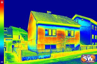 Infrared thermovision image showing lack of thermal insulation on House